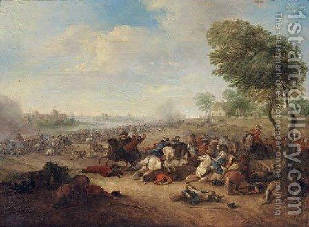 A cavalry skirmish by (after) Karel Bredael - Reproduction Oil Painting