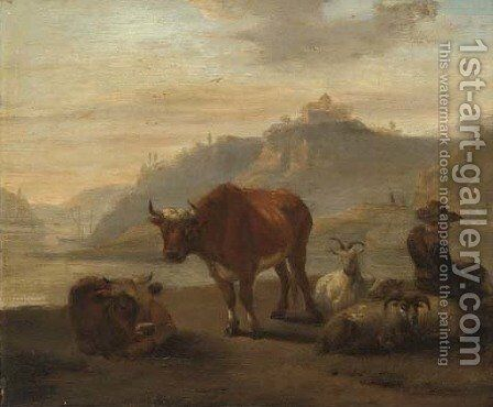 A river landscape with cattle and a shepherd and his flock in the foreground by (after) Karel Dujardin - Reproduction Oil Painting