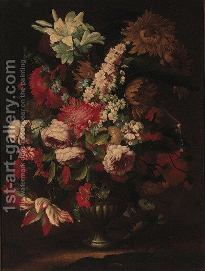 Irises, sunflowers, roses, carnations, morning glory, tulips and other flowers in an urn by (after) Karel Van Vogelaer, Called Distelbloom - Reproduction Oil Painting