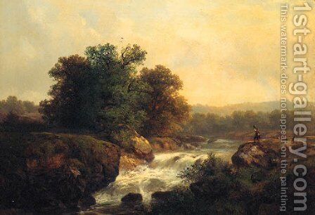 An Alpine Landscape With A Boy Standing Near A River by (after) Karl Millner - Reproduction Oil Painting