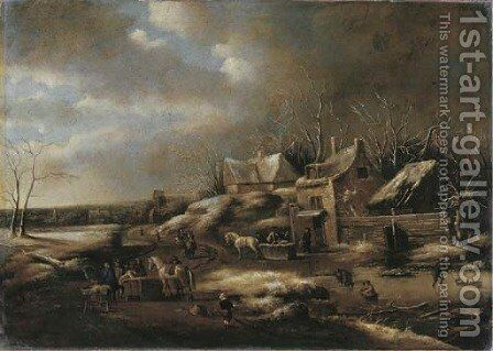 A winter landscape with townsfolk on a frozen waterway by a tavern by (after) Claes Molenaar (see Molenaer) - Reproduction Oil Painting