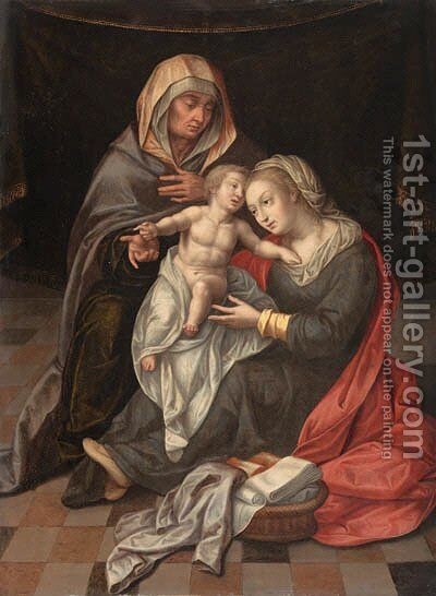 The Virgin and Child with Saint Anne by (after) Lambert Lombard - Reproduction Oil Painting
