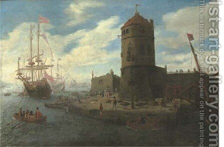 A capriccio of a Mediterranean harbour with elegant figures, three-masters beyond by (after) Laureys A Castro - Reproduction Oil Painting