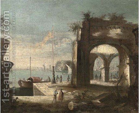 A Mediterranean harbour with shipping and figures on the quay by (after) Leonardo Coccorante - Reproduction Oil Painting