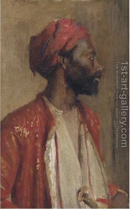 Study of a North African by (after) Leopold Karl Mutller - Reproduction Oil Painting