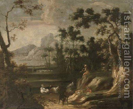A wooded landscape with herdsmen, mountains beyond by (after) Lodewijk De Vadder - Reproduction Oil Painting