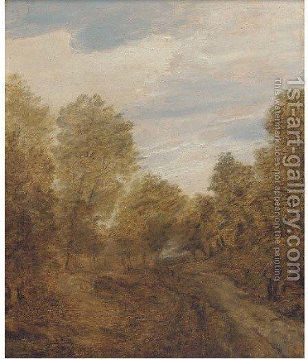 A wooded landscape with figures on a track by (after) Lodewijk De Vadder - Reproduction Oil Painting