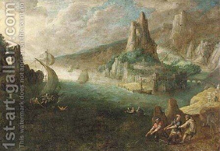 A coastal landscape with a sailor overboard and fishermen on the shore by (after) Lodovico Pozzoserrato (see Toeput, Lodewijk) - Reproduction Oil Painting