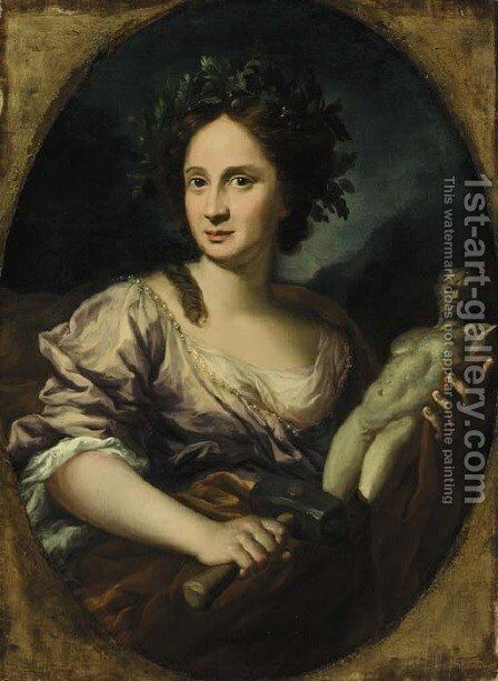 Portrait of a young lady by (after) Lorenzo Lippi - Reproduction Oil Painting