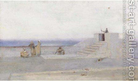 Moors at coastal battlements at dusk by (after) Louis Auguste Girardot - Reproduction Oil Painting