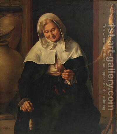 An old lady carding wool in an interior by (after) Louis Lenain - Reproduction Oil Painting