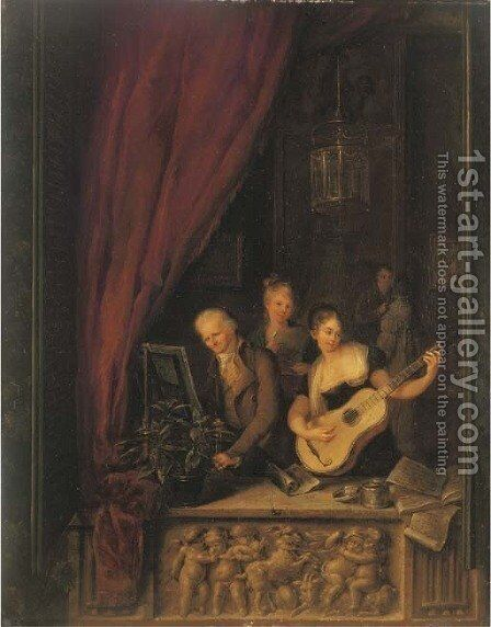 Elegant company making music in an interior, in a sculpted niche by (after) Louis Moritz - Reproduction Oil Painting