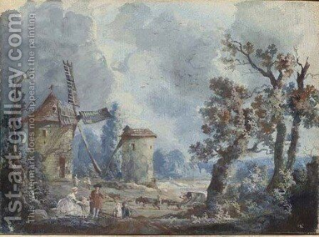 Figures in a stormy landscape with windmills; and Figures in a landscape with a donkey drinking at a fountain by (after) Louis Nicolael Van Blarenberghe - Reproduction Oil Painting