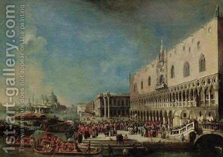 The Grand Canal, Venice, with the reception of the French ambassador into the Ducal Palace by (after) Luca Carlevarijs - Reproduction Oil Painting