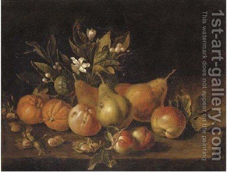 Pears, apples, oranges and nuts on a ledge by (after) Luca Forte - Reproduction Oil Painting
