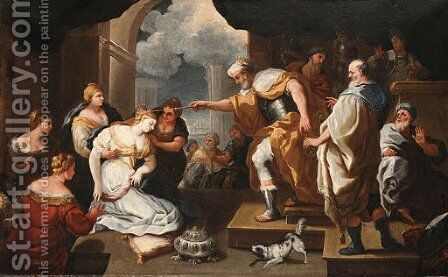 Esther before Ahasuerus by (after) Luca Giordano - Reproduction Oil Painting
