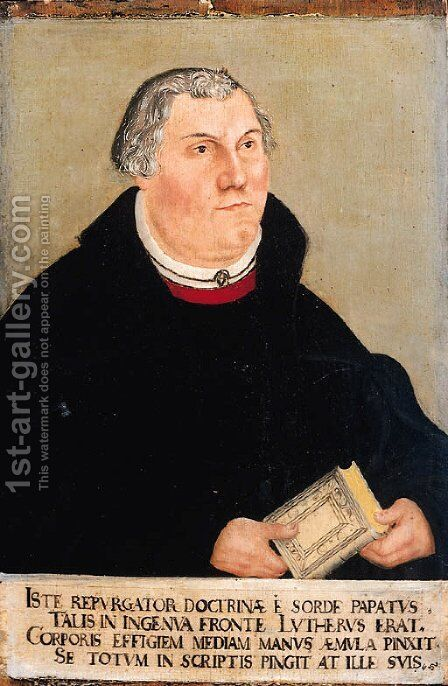 Portrait of Martin Luther by (after) Lucas The Elder Cranach - Reproduction Oil Painting