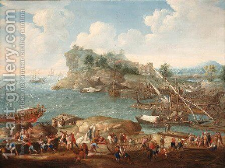A Mediterranean coastal Landscape with Levants and Shipbuilders in the foreground by (after) Lucas De Wael - Reproduction Oil Painting