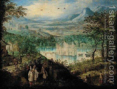 An extensive mountain landscape with elegant company at the vendage, a castle beyond by (after) Lucas Van Valckenborch - Reproduction Oil Painting