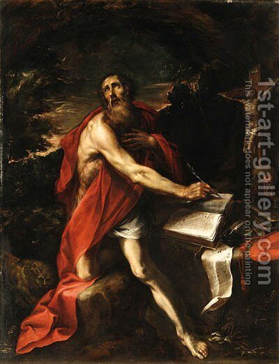 Saint Jerome in the Wilderness by (after) Luciano Borzone - Reproduction Oil Painting