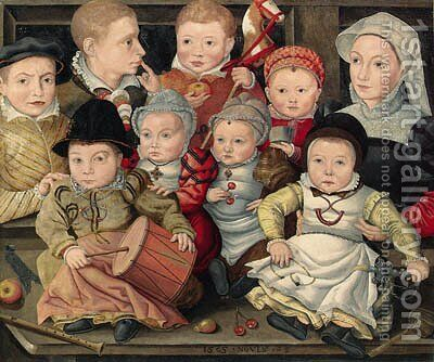 Group portrait of children by (after) Ludger Tom The Younger Ring - Reproduction Oil Painting