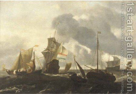 A Dutch man'o-war and other shipping in choppy seas by (after) Ludolf Backhuizen - Reproduction Oil Painting
