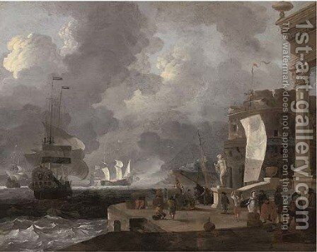 A mediterranean harbour scene by (after) Ludolf Backhuysen - Reproduction Oil Painting