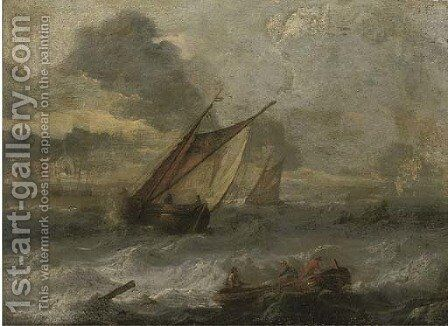 Shipping in a stiff breeze by (after) Ludolf Backhuyzen - Reproduction Oil Painting