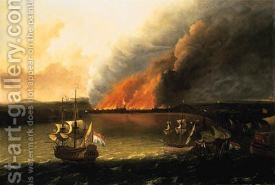 Dutch Men-of-War pursuing a British Man-of-War, a town burning beyond, possibly the Dutch raid on Chatham in 1667 by (after) Ludolf Backhuyzen - Reproduction Oil Painting