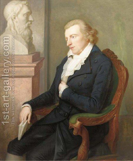 Portrait of Schiller seated by a bust by (after) Ludovike Simanowitz - Reproduction Oil Painting