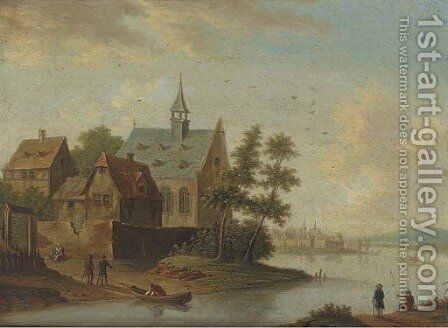 A river landscape with a village and anglers by (after) Marc Baets - Reproduction Oil Painting