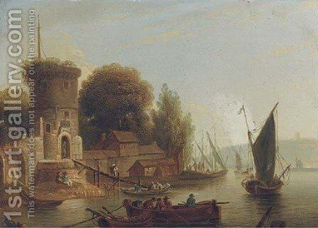 A river landscape with fisherman, a walled town beyond by (after) Marc Baets - Reproduction Oil Painting