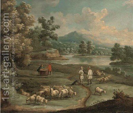 An extensive mountainous landscape, with figures and a wagon on a path by a lake; and A river landscape with shepherds conversing by (after) Marc Baets - Reproduction Oil Painting