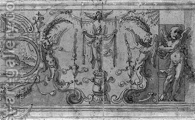 A wall decoration with a landscape painting in a cartouche and winged figures holding garlands by (after) Marco Marchetti, Called Marco Da Faenza - Reproduction Oil Painting