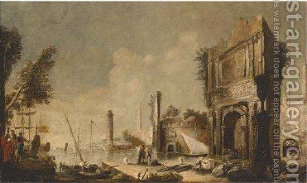 A capriccio of a Mediterranean harbour with figures amongst classical ruins by (after) Marco Ricci - Reproduction Oil Painting