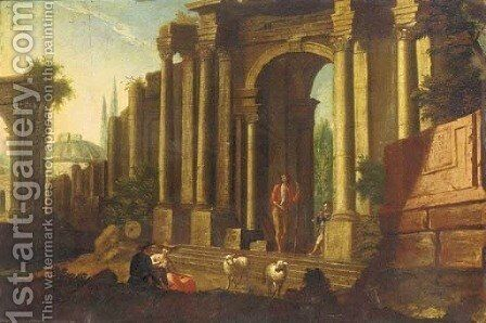 A capriccio of classical ruins with a shepherd and other figures by (after) Marco Ricci - Reproduction Oil Painting