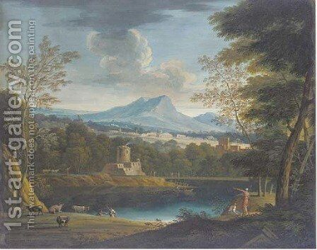 A classical landscape with a fortress on a lake, cattle in the foreground by (after) Marco Ricci - Reproduction Oil Painting