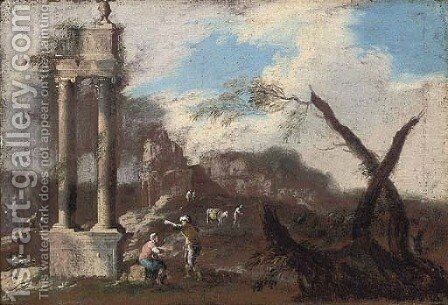 A landscape with classical ruins and travellers conversing by (after) Marco Ricci - Reproduction Oil Painting