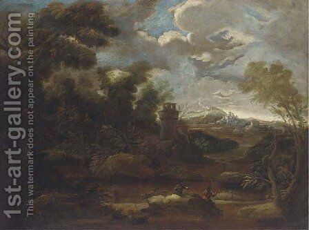A mountain landscape with anglers by a river, a tower and a town beyond by (after) Marco Ricci - Reproduction Oil Painting