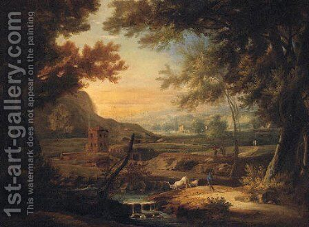 An extensive Italianate landscape with a herdsman by a stream by (after) Marco Ricci - Reproduction Oil Painting