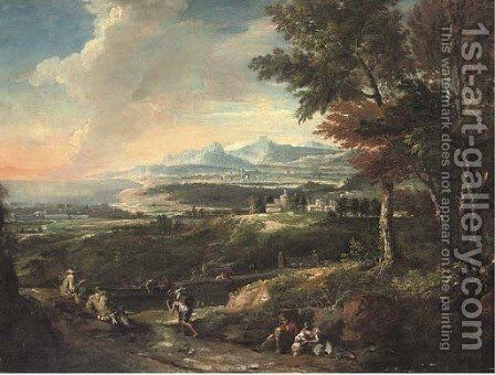 An Italianate landscape with monks and other travellers by a river, a bay beyond by (after) Marco Ricci - Reproduction Oil Painting