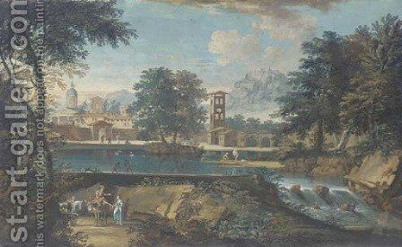 River landscape with bathers and a town in the background by (after) Marco Ricci - Reproduction Oil Painting