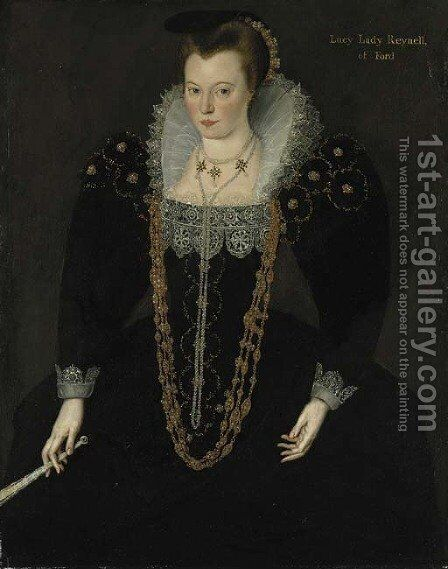 Portrait of Lucy, Lady Reynell of Ford by (after) Marcus The Younger Gheerhaerdts - Reproduction Oil Painting
