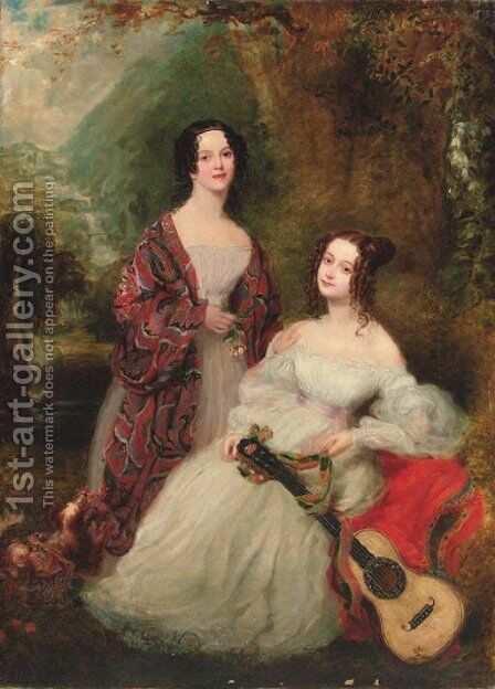 Double portrait of two sisters by (after) Margaret Sarah Carpenter - Reproduction Oil Painting