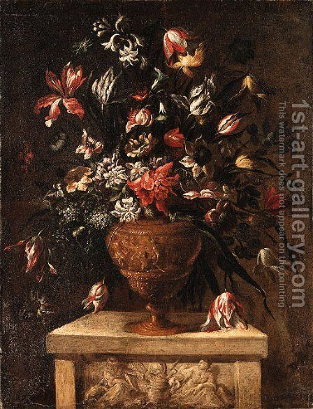 Flowers in a sculpted Vase on a stone Plinth by (after) Dei Fiori (Nuzzi) Mari - Reproduction Oil Painting