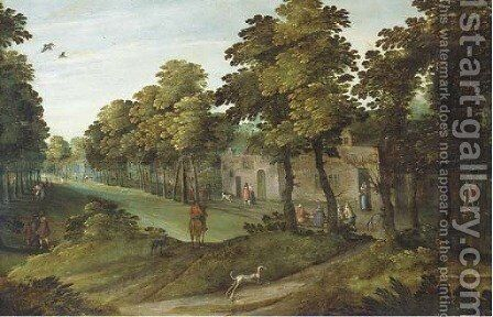 A village landscape with an avenue of trees, a horseman and a dog in the foreground by (after) Marten Ryckaert - Reproduction Oil Painting