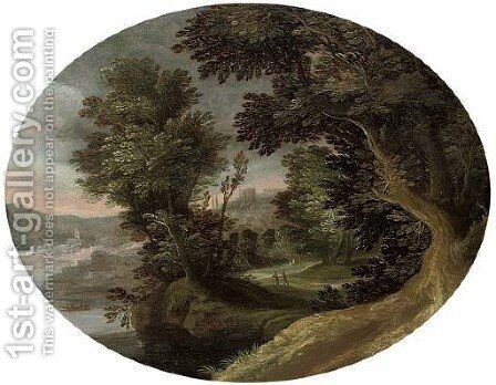 A wooded river landscape with travellers on a track by (after) Marten Ryckaert - Reproduction Oil Painting