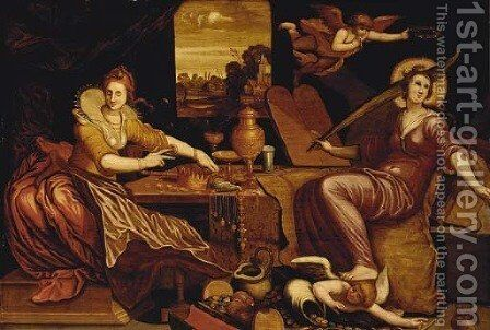 The personification of Vanity with Religion triumphant over Lust and Avarice by (after) Maarten De Vos - Reproduction Oil Painting