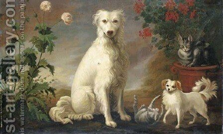 Two dogs and two cats in a landscape with flowers by (after) Martin Ferdinand Quadal - Reproduction Oil Painting