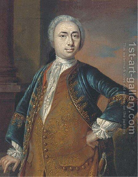 Portrait of a gentleman, standing three-quarter-length, in a gold embroidered waistcoat and blue coat, wearing a sword by (circle of) Mytens-Meytens, Martin II - Reproduction Oil Painting